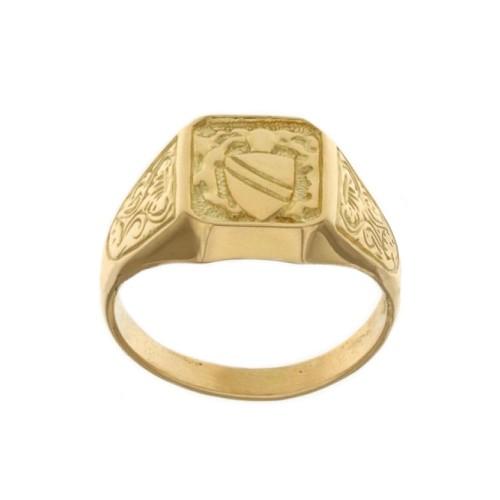 Anello a scudo in oro giallo 18k 750/1000