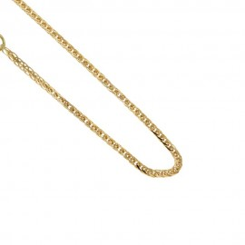 Gold 18kt 750/1000 squared ear chain shiny unisex necklace