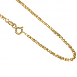 Gold 18kt 750/1000 squared ear chain shiny necklace