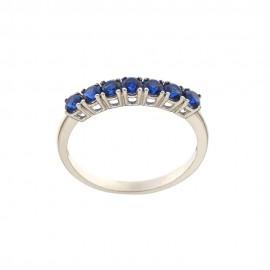 Anello mezza veretta in oro 18k 750/1000 con zirconi blu
