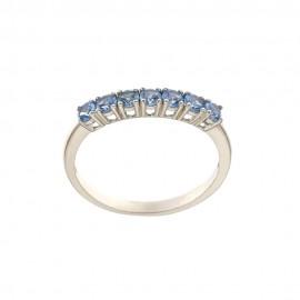 White gold 18k 750/1000 light blue cubic zirconia half eternity woman ring