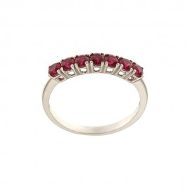 White gold 18k 750/1000 red cubic zirconia half eternity woman ring