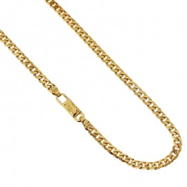 Gold 18k 750/1000 grumetta chain shiny unisex necklace