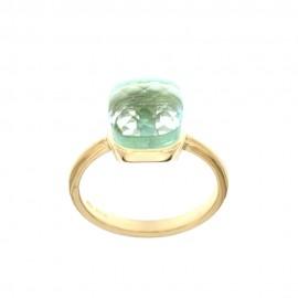 Yellow gold 18k 750/1000 squared light blue quartz ring