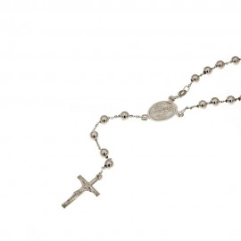 Gold 18k 750/1000 with shiny spheres rosary Unisex necklace