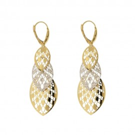 Yellow and white gold 18K woman openworked long chandelier earrings