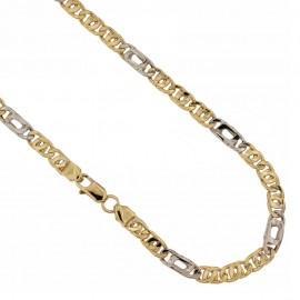 Catena in oro 18k 750/1000 alternata maglia tigre lucida