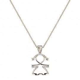 Gold 18k 750/1000 white cubic zirconia child pendant necklace