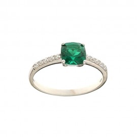 White gold 18k 750/1000 green and white cubic zirconia Solitaire ring