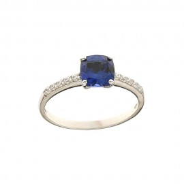 White gold 18k 750/1000 blue and white cubic zirconia Solitaire ring