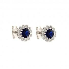White gold 18k 750/1000 flower shaped woman earrings