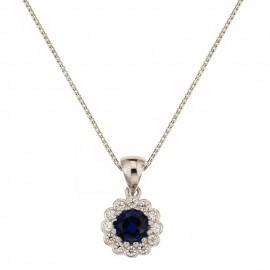 White gold 18k 750/1000 flower pendant necklace