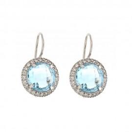 Gold 18k 750/1000 Light blue quartz and white cubic zirconia earrings
