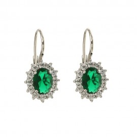White gold 18k 750/1000 Leverback closure colored stones earrings