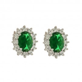 White gold 18k 750/1000 colored stones oval woman earrings