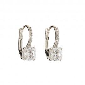 White gold 18k 750/1000 white stones woman earrings