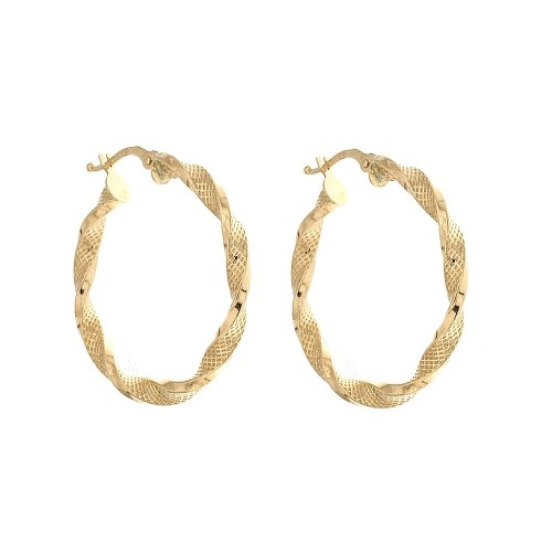 Yellow gold 18k 750/1000 Hoops Torchon woman earrings