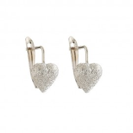 Gold 18k 750/1000 with shiny and diamond cut hearts girl earrings