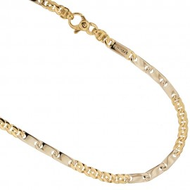Yellow and white gold 18k 750/1000 shiny man necklace