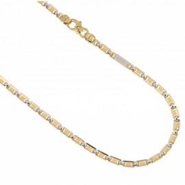 Catena piena in oro giallo e bianco 18k 750/1000 maglia fantasia lucida da uomo