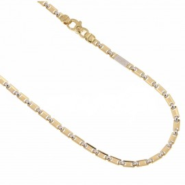 Yellow and white solid gold 18k 750/1000 fantasy chain