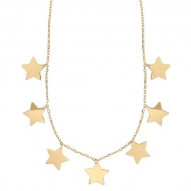 Collana con stelle a lastra in oro 18k 750/1000 da donna