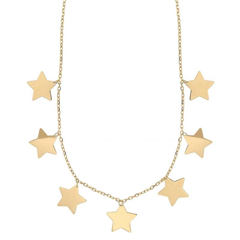 sito affidabile c522f 44716 Collana con stelle a lastra in oro 18k 750/1000 da donna
