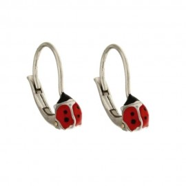 Gold 18k 750/1000 with enamelled ladybugs girl earrigs