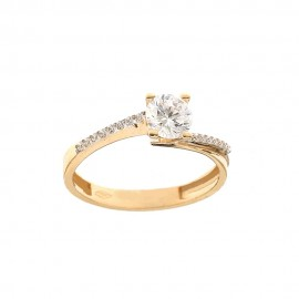 Gold 18k 750/1000 with white cubic zirconia Solitaire ring