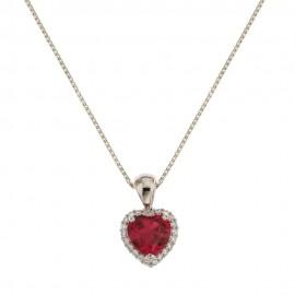 Collana con cuore rosso in oro bianco 18k 750/1000 donna