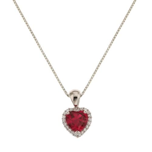 nuovi arrivi 7578b cb28e Collana con cuore rosso in oro bianco 18k 750/1000 donna