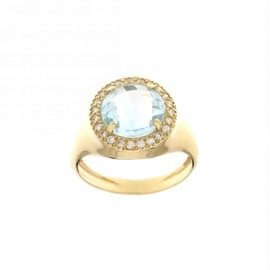 Yellow gold 18k 750/1000 round light blue quartz woman ring