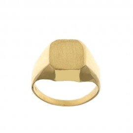 Yellow solid gold 18k 750/1000 shiny and satin man ring