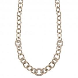 Collana in oro bianco 18k 750/1000 a catena lucida con una maglia con zirconi bianchi donna