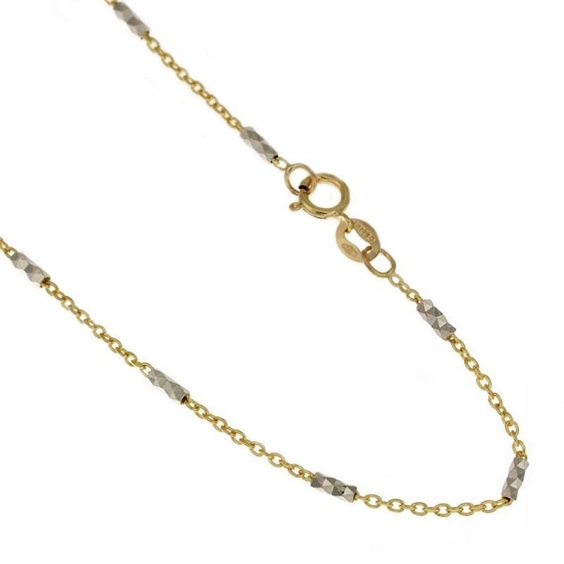 Catenina in oro giallo e bianco 18k 750/1000 a maglie alternate