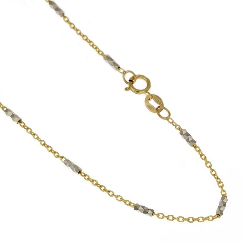 Yellow and white solid gold 18k 750/1000 chain
