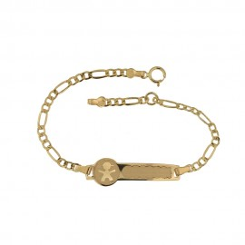 Gold 18k 750/1000 baby boy laser engraved tag bangle