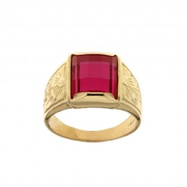 Yellow gold 18k 750/1000 red stone man ring