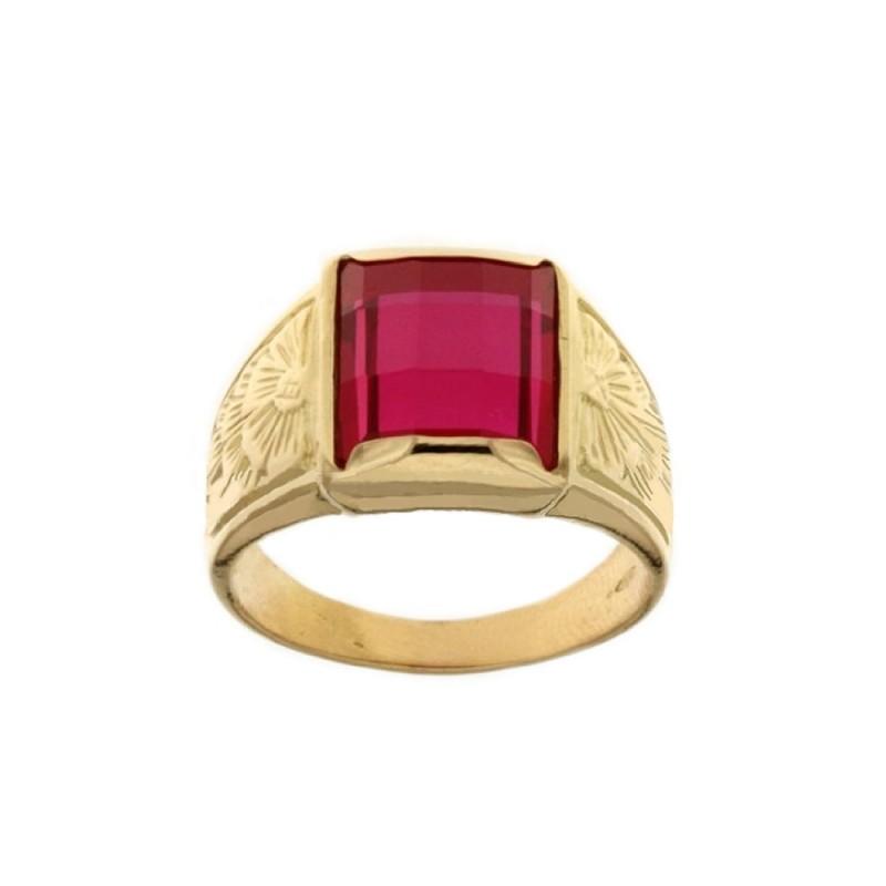 Yellow gold 18k 750/1000 red stone man ring