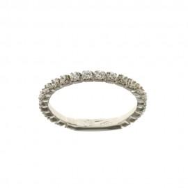 Gold 18k 750/1000 White Cubic Zirconia Woman Veretta Ring