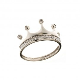 Gold 18k 750/1000 white cubic zirconia Crown ring