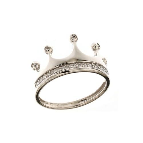 Anello corona in oro 18k 750/1000 con zirconi bianchi