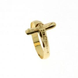 Gold 18k 750/1000 shiny man cross ring