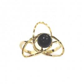 Yellow gold 18k 750/1000 black onyx shiny woman ring