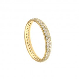 Anello a veretta in oro 18k 750/1000 con zirconi bianchi da donna