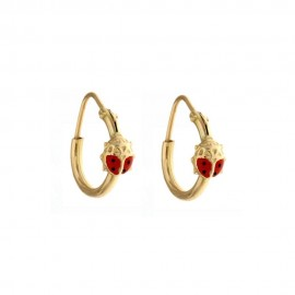 Yellow gold 18k 750/1000 Ladybugs hoops girls earrings