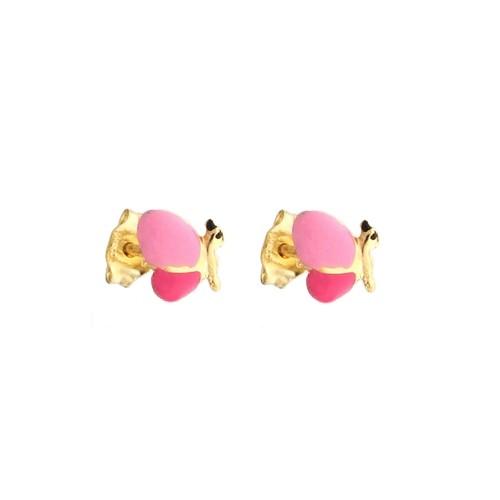 Yellow gold 18k 750/1000 Butterfly shaped girls earrings