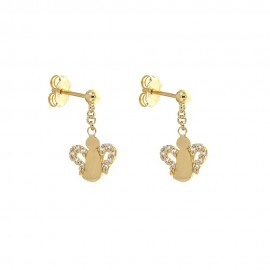 Gold 18k 750/1000 with white cubic zirconia angels girls earrings