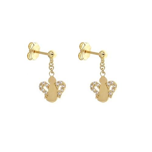 Gold 18k 750/1000 dangling butterflies girls earrings