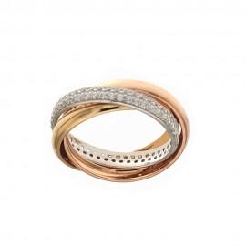 Tre anelli intrecciati in oro bianco, giallo e rosa 18k 750/1000 con zirconi bianchi da donna